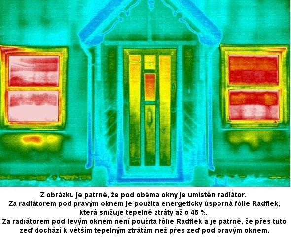 Termovizní snímek z vnější strany domu